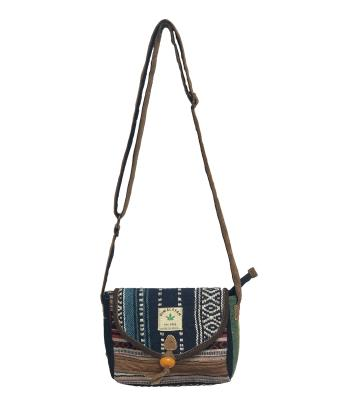 Leather /Cotton Mixed Long Strip Bag